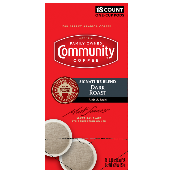 Dark Roast One Cup Coffee Pods 18 Count Community Coffee